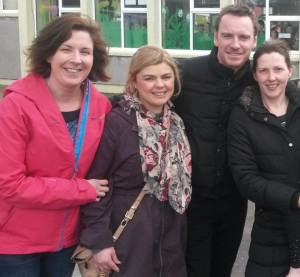 Michael Fassbender at Fossa National School on Monday with parents Cathriona Cahillane, Aileen Brady and Marian O'Neill.