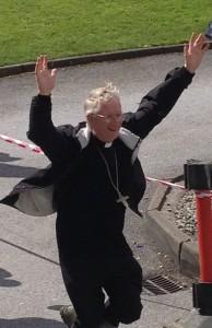 Winner: Bishop Ray celebrates