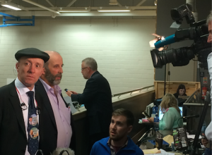 In the spotlight: Michael and Danny Healy-Rae get ready to face the TV cameras at the count centre in Killarney tonight