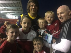 Killarney RFC members Mark McCarthy, Stevie Murphy, Donncha Murphy, Darragh Stack, Cian Stack and Ed Stack with former Munster and Ireland lock Donncha O'Callaghan at the match in between Munster and Worcester Warriors with whom O'Callaghan now plays