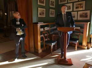 Minister for Arts, Heritage, Regional and Gaeltacht Affairs, Michael Ring, listens attentively as Board of Trustees Chairman, Rory D'Arcy, addresses the gathering at the reception in the house. Pictures: Valerie O'Sullivan