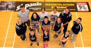 Preparing for the St Paul's Basketball Club registration evening were, front from left, Joshua Switzer, Ava Weldon and Rian Weldon and, back from left, Jean Courtney, Jarlath Lee, Julie Delaney, Elizabeth Switzer, Ben Switzer, Mary Delaney, Ruth Courtney,  Padraig Weldon,and Philip O'Connor.    Picture: Eamonn Keogh