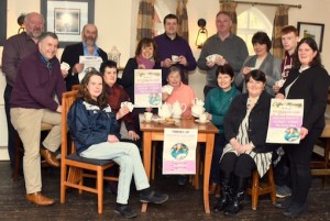 Friends and neighbours gather for the launch of the two fundraisers for Maureen Kelliher (front, left)